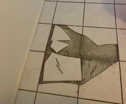 Exploding floor tiles