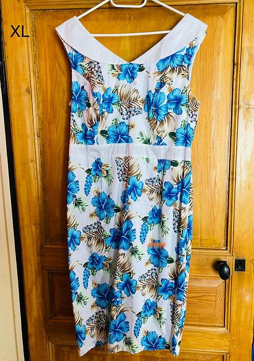 Robe pin-up droite Hawai bleu