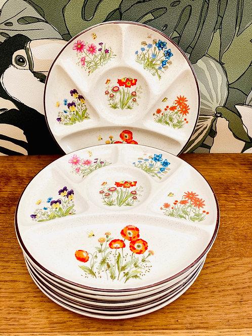 6 assiettes à fondue Fleurs
