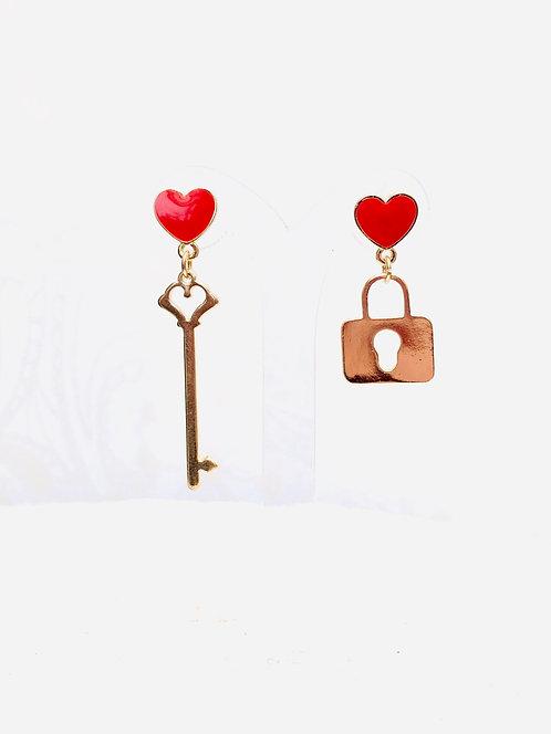 Boucles d'oreilles clef/cadenas