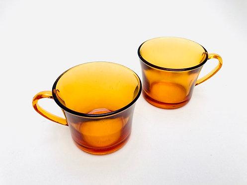 Tête à tête tasses Duralex verre ambré