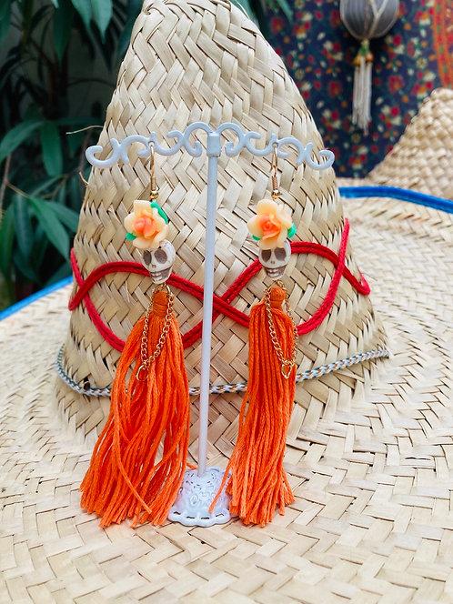 Boucles d'oreilles Calavera orange