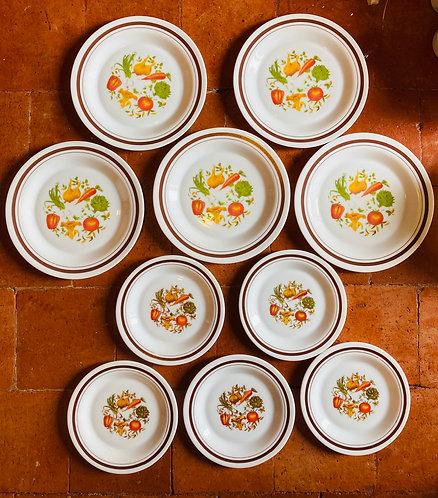 Assiettes plates et creuses Arcopal «Pot au feu»