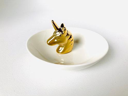 Porte-bague Coupelle bijoux Licorne dorée