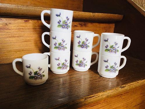 Ensemble tasses arcopal Violettes