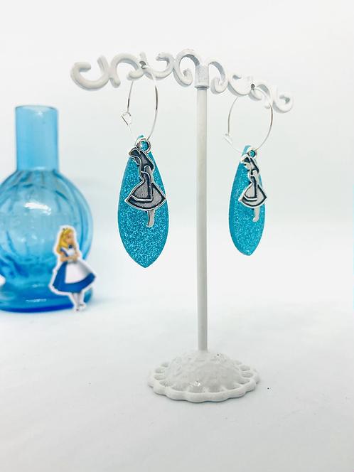 Boucles d'oreilles Alice bleu paillettes