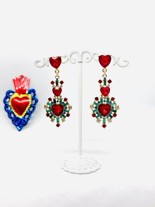Boucles d'oreilles coeurs sacrés rouge et vert
