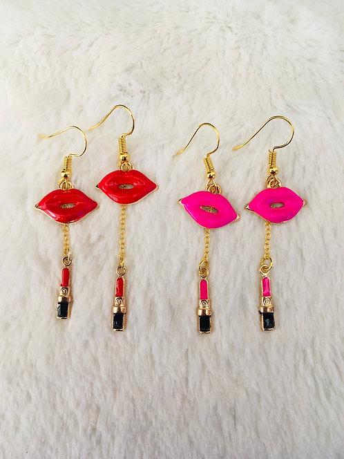 Boucles d'oreilles Rouges à lèvres