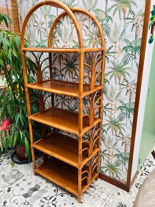 Étagère bibliothèque rotin bambou vintage