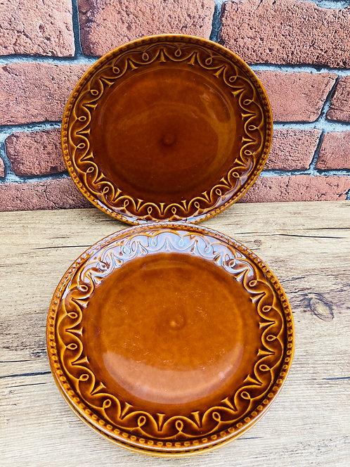 Assiettes à dessert marron