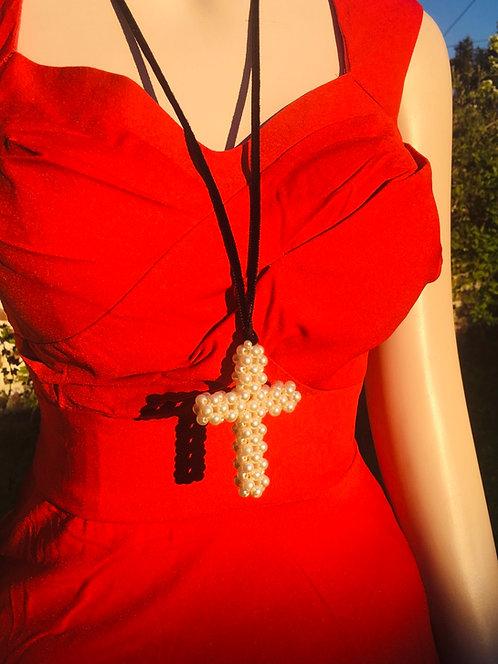 Collier vintage Croix en perle