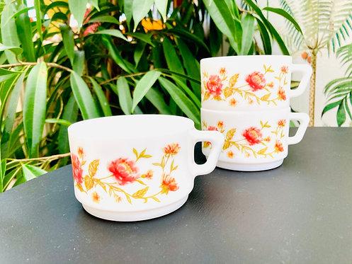 Trio tasses arcopal fleurs