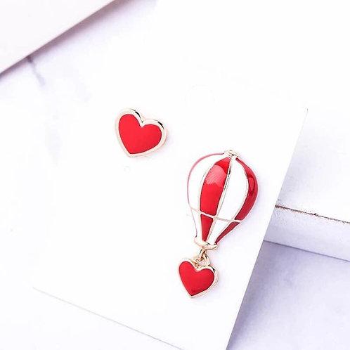 Boucles d'oreilles Montgolfière Coeur