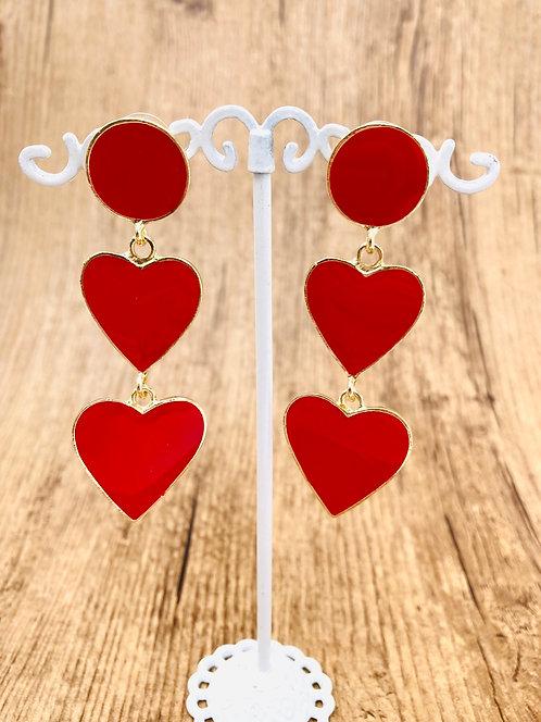 Boucles d'oreilles Coeurs rouges