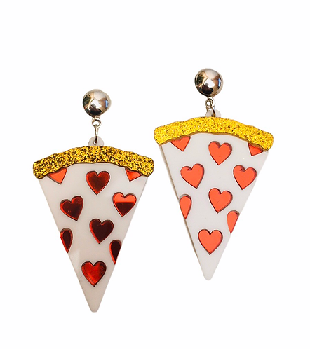 Boucles d'oreilles Pizza coeur