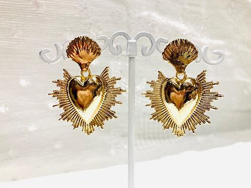 Boucles d'oreilles coeur sacré doré