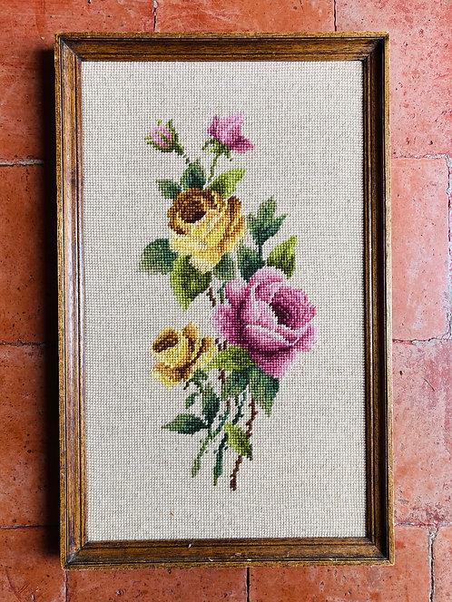 Cadre canevas fleurs