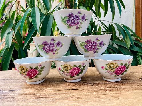 6 mini bols vintage décors floraux
