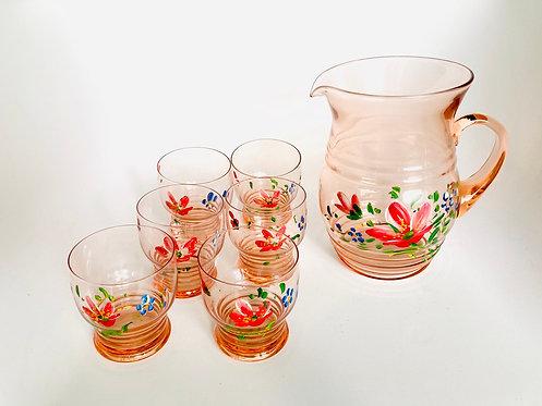 Ensemble carafe + verres motif floral peint à la main