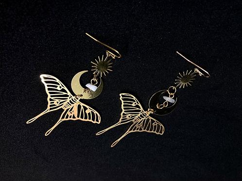 Boucles d'oreilles Papillon lune