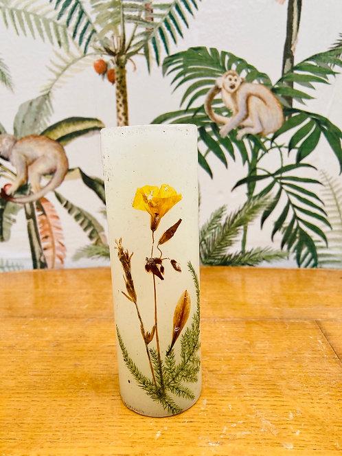 Bougeoir en cire fleurs séchées vintage