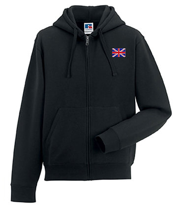 Union Jack Embroidered Mens Zip Hoodie