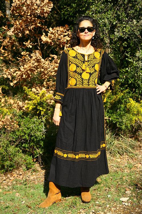 Robe Carlita noire et jaune moutarde