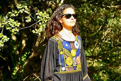 Robe Carlita noire et multi couleurs