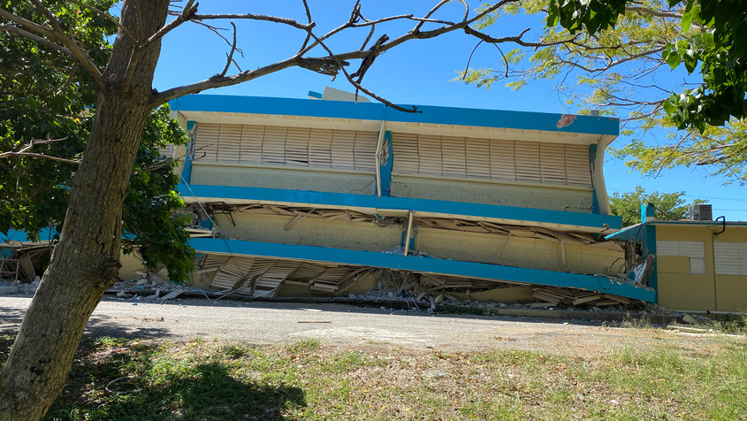 The first floor of this school in Guanica, Puerto Rico, collapsed after a massive earthquake hit the island in January.  According to a local aid worker, the school had been deemed structurally sound before the earthquake, and sceptical locals commissioned their own analysis, which found otherwise.