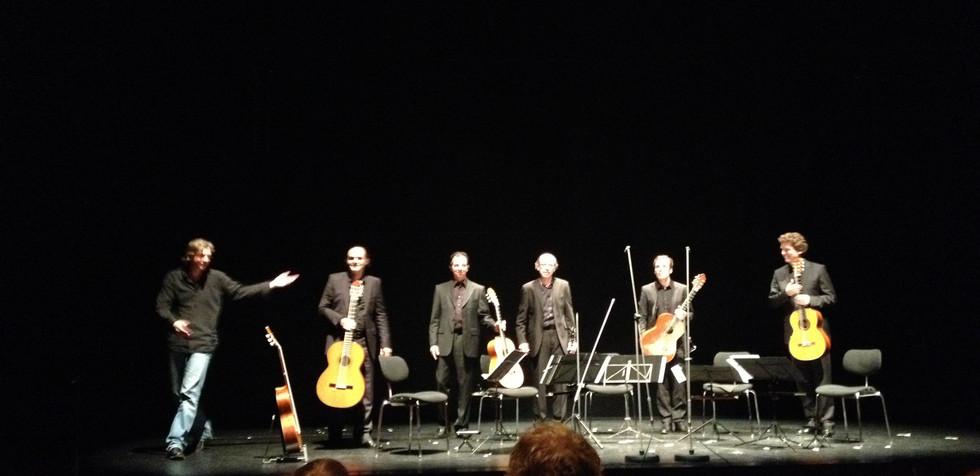 """Markus Hechtle """"Linie mit Schraffur"""" (for guitar quartet and clarinet) rehearsal Wolfgang Rihm Forum 2013"""