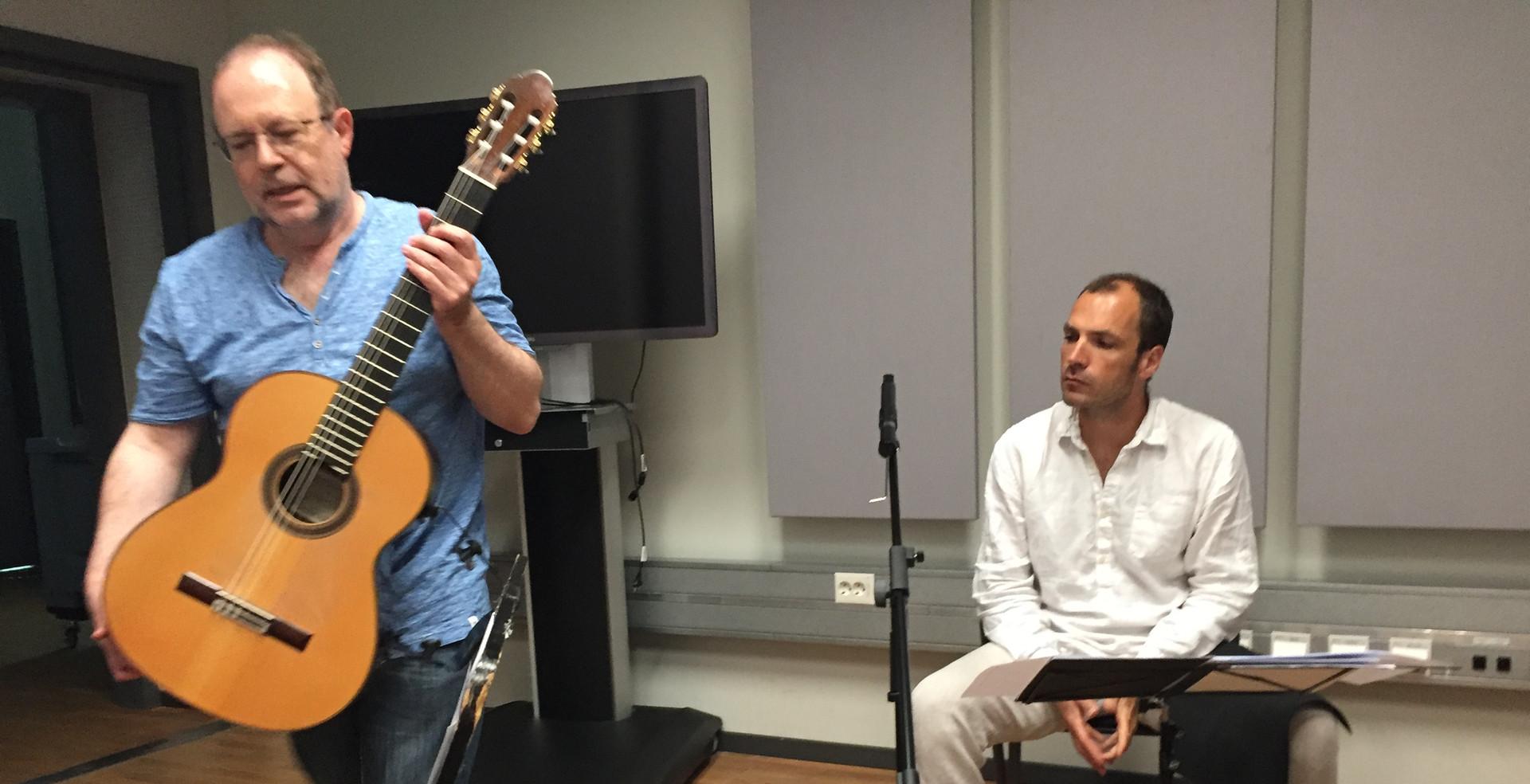 """Jörg Mainka """"Gefrorene Erinnerungen"""" (for  guitar quartet und Lotusflöten)rehearsal 2019"""