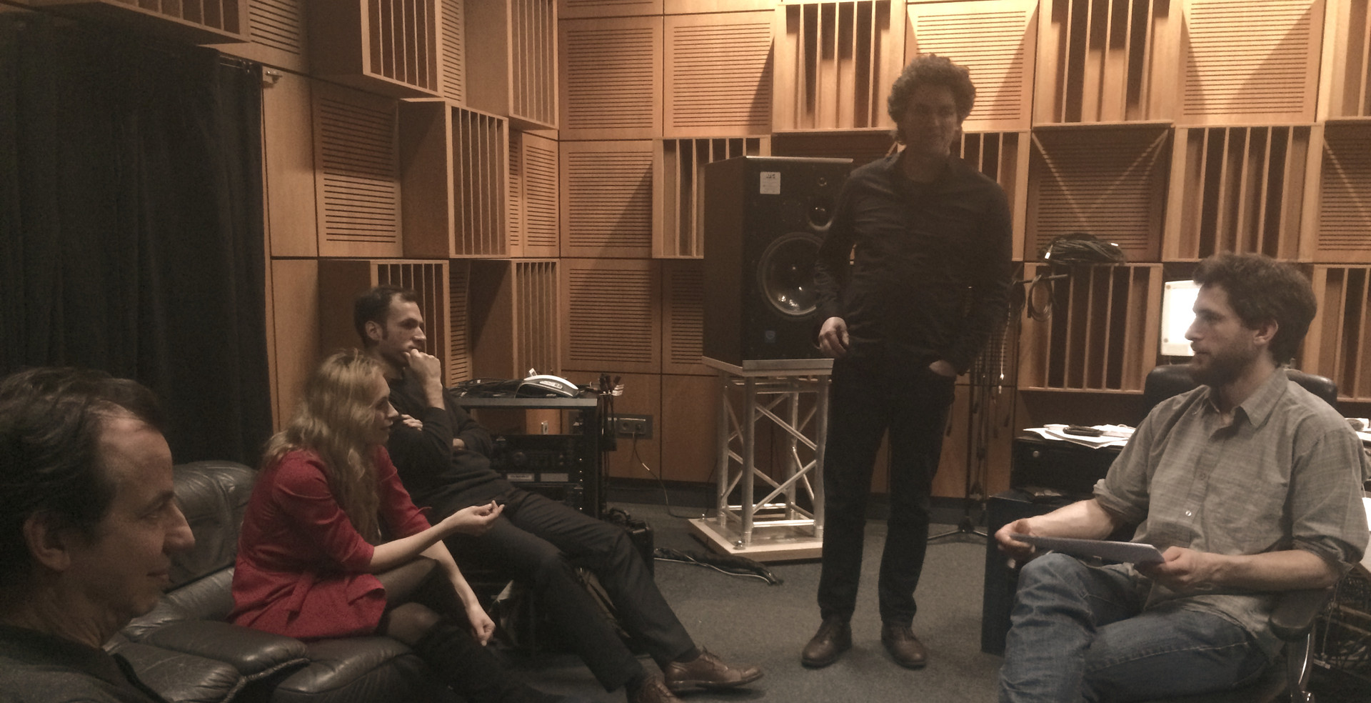 ALEPH Gitarrenquartett Recording with Sarah Maria Sun , soprano and Ben Miller at ZKM