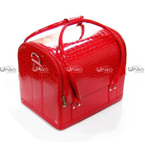 กระเป๋าหนังแดงเงามีลาย
