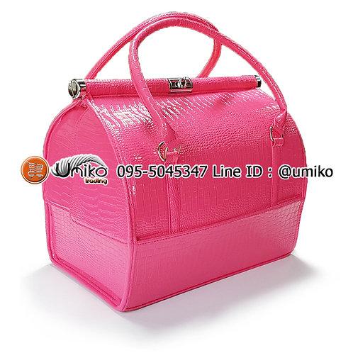กระเป๋าหนังลายใบใหญ่สีชมพู