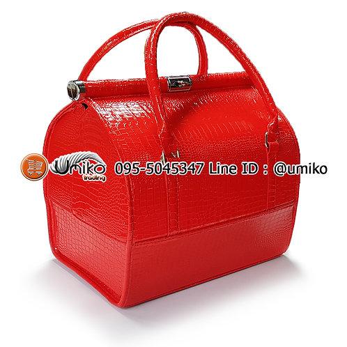 กระเป๋าหนังลายใบใหญ่สีแดง