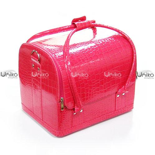 กระเป๋าหนังชมพูมีลาย