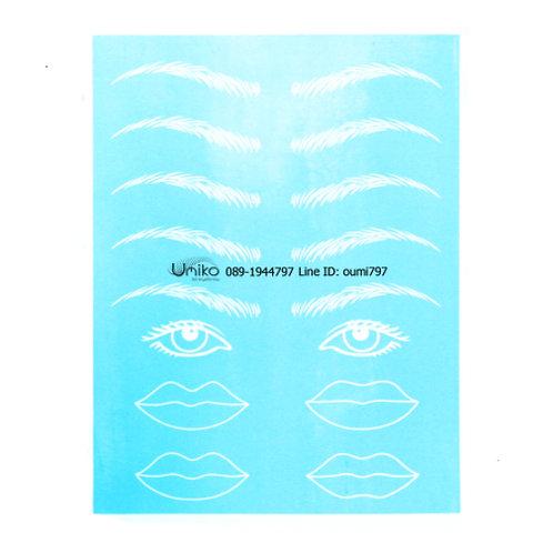 แผ่นหนังสีฟ้า รูปคิ้ว ตา ปาก
