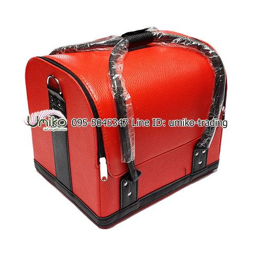 กระเป๋าหนังสีแดงดำ