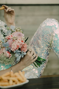 alternative bride style with sequin jump suit