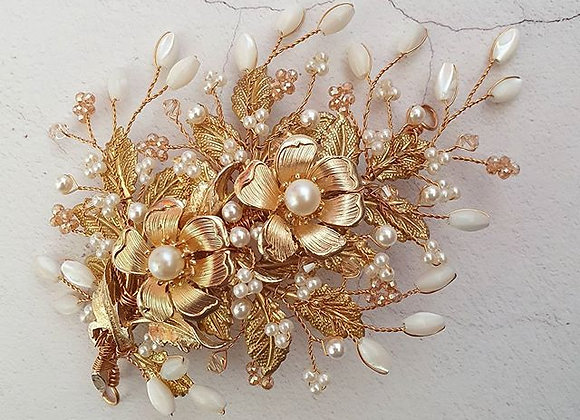 Vintage gold and pearl flower headpiece