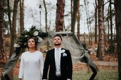 Geometric wedding outside ceremony