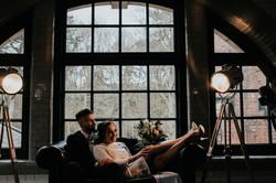 Geometric wedding venue styling