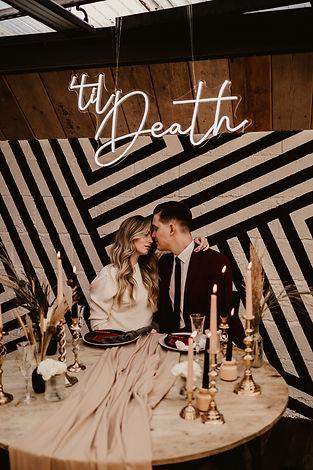 Edgy wedding styling based on The Shining