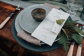 Woodland wedding place setting inspiration