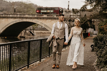 Bath city elopement wedding with modern bridal look