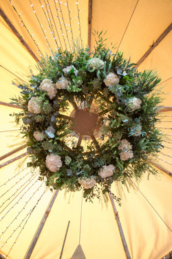 Scandi boho flower chandelier