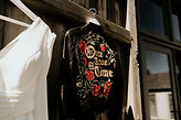 handpainted leather jacket for urban styled barn wedding