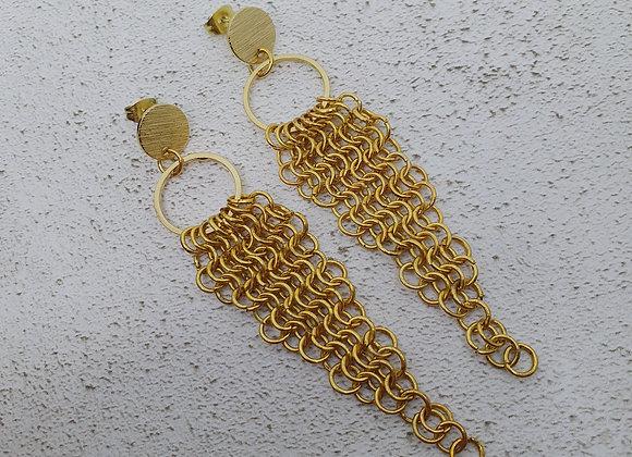 Circle stud chandelier earrings
