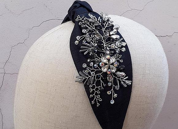 ONE OFF black knotted silk headband