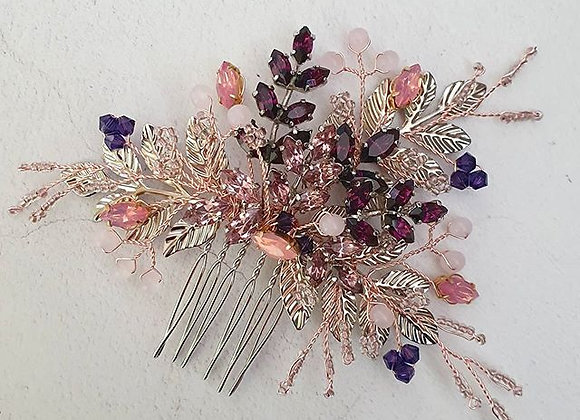 Purples and pinks vintage comb
